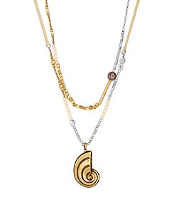 Lucky Brand Two Tone Layered Shell Pendant Necklace