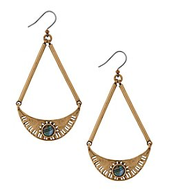 Lucky Brand Goldtone Abalone Semi Circle Drop Earrings