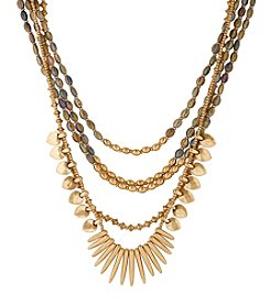 Lucky Brand® Goldtone Abalone Multi Layered Statement Necklace