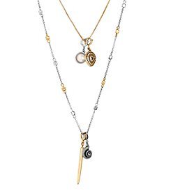 Lucky Brand Two Tone Charm Shell Necklace