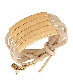 Lucky Brand® Goldtone Leather Wrap Bracelet