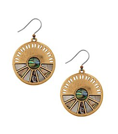 Lucky Brand Goldtone Abalone Circle Drop Earrings