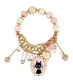 Betsey Johnson® Goldtone Cat & Mixed Charm Half Stretch Bracelet