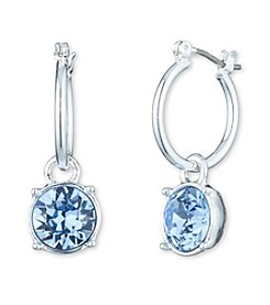 Nine West® Silvertone and Sapphire Hoop Drop Earrings