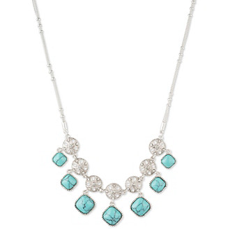 Nine West Vintage America Collection® Silvertone And Turquoise Shaky Frontal Necklace