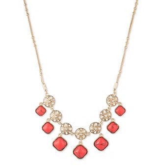 Nine West Vintage America Collection® Goldtone And Coral Shaky Frontal Necklace