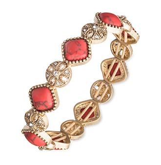 Nine West Vintage America Collection® Goldtone And Coral Stretch Bracelet