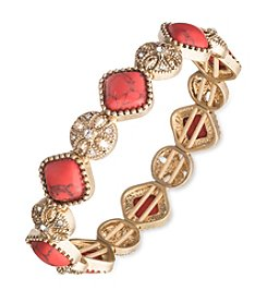 Nine West Vintage America Collection® Goldtone And Coral Stretch Bracelet