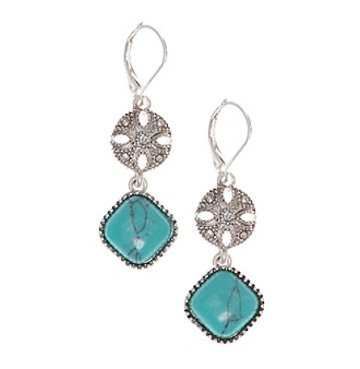 Nine West Vintage America Collection® Silvertone And Turquoise Leverback Double Drop Earrings plus size,  plus size fashion plus size appare