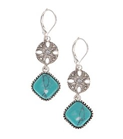 Nine West Vintage America Collection® Silvertone And Turquoise Leverback Double Drop Earrings