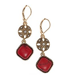 Nine West Vintage America Collection® Goldtone And Coral Leverback Double Drop Earrings