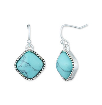 Nine West Vintage America Collection® Silvertone And Turquoise Small Drop Earrings plus size,  plus size fashion plus size appare