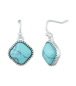 Nine West Vintage America Collection® Silvertone And Turquoise Small Drop Earrings