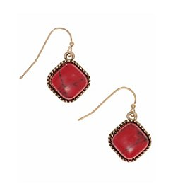 Nine West Vintage America Collection® Goldtone And Coral Small Drop Earrings