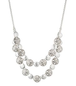 Nine West Vintage America Collection® Silvertone And Crystal 2 Row Frontal Necklace