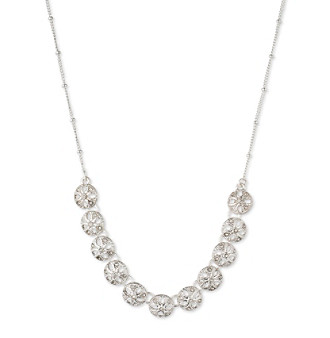 Nine West Vintage America Collection® Silvertone And Crystal Small Frontal Necklace plus size,  plus size fashion plus size appare