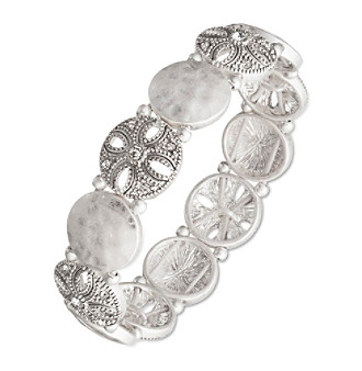 Nine West Vintage America Collection® Silvertone And Crystal Stretch Bracelet