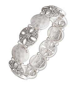 Nine West Vintage America Collection® Silvertone And Crystal Stretch Bracelet