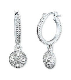 Nine West Vintage America Collection® Silvertone And Cyrstal Drop Hoop Earrings