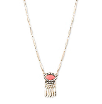 Nine West Vintage America Collection Goldtone And Coral Small Pendant Necklace