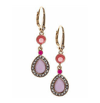 Nine West Vintage America Collection® Goldtone And Pink Double Drop Leverback Earrings plus size,  plus size fashion plus size appare