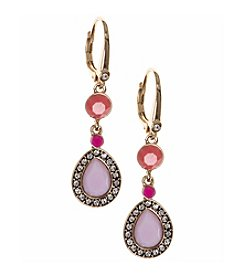 Nine West Vintage America Collection® Goldtone And Pink Double Drop Leverback Earrings