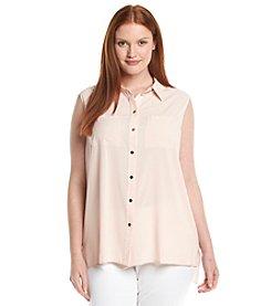 Calvin Klein Plus Size Collar Button Top