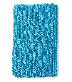 LivingQuarters Azurean Blue Chenille Microfiber Bath Rug