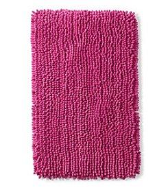 LivingQuarters Fuschia Chenille Microfiber Bath Rug