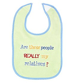 Cuddle Bear® Baby Boys Are These My Relatives? Bib