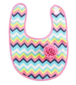 Cuddle Bear® Baby Girls' Chevron Rosette Bib