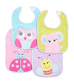 Cuddle Bear Baby Girls' 4-Pack Big Eye Owl Bibs