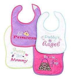 Cuddle Bear® Baby Girls' 4-Pack Born To Shop Bibs