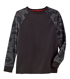 Ruff Hewn Boys' 8-20 Long Sleeve Camo Printed Raglan Tee