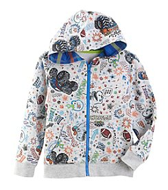 Mix & Match Boys' 2T-7 Long Sleeve Doodle Printed Fleece Zip Hoodie