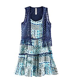 Beautees Girls' 7-16 Geo Printed Dress With Crochet Fringe Vest