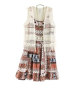 Beautees Girls' 7-16 Patchwork Printed Dress With Vest