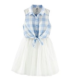 Beautees Girls' 7-16 Gingham Tie Front Dress