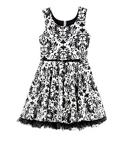 Beautees Girls' 7-16 Damask Printed Skater Dress