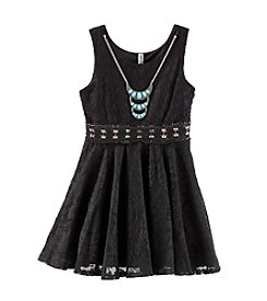 Beautees Girls' 7-16 Lace Skater Dress With Necklace