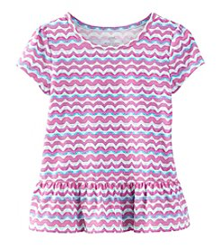 Mix & Match Girls' 2T-6X Short Sleeve Wavy Striped Peplum Tee