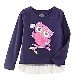Mix & Match Girls' 2T-6X Long Sleeve Owl Printed Lace Hem Tunic