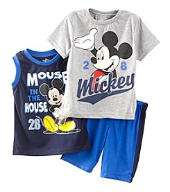 Disney® Baby Boys 3-Piece Mickey Mouse® In The House Printed Tank, Tee And Shorts Set