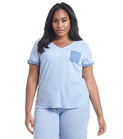 KN Karen Neuburger Plus Size Chambray Pajama Shirt