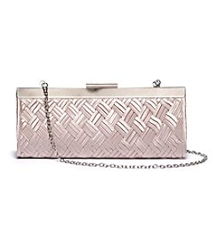 La Regale® Satin Basketweave Texture Frame Clutch
