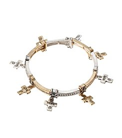 L&J Accessories Two Tone Inspirational Heart Charm Shaky Bracelet