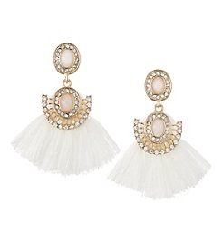 Relativity® Ivory And Goldtone Post Drop Earrings