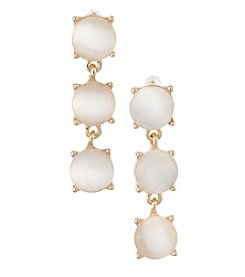 Relativity® Ivory And Goldtone Triple Drop Post Earrings