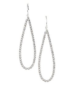 BT-Jeweled Silvertone And Simulated Crystal Open Teardrop Earrings