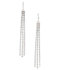 BT-Jeweled Silvertone Linear Simulated Crystal Drop Earrings